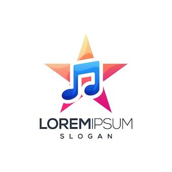 Logotipo colorido do gradiente da música da estrela