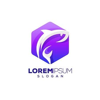 Logotipo colorido do hexágono de peixe