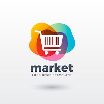 Logotipo colorido do mercado com gradiente