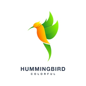 Logotipo colorido do pássaro humming