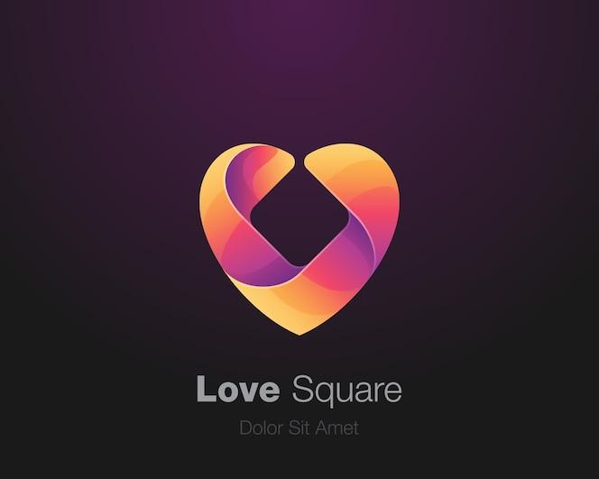 Logotipo colorido do quadrado do amor