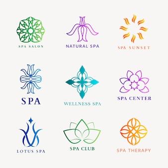 Logotipo colorido do spa de bem-estar, conjunto de vetores de design moderno gradiente
