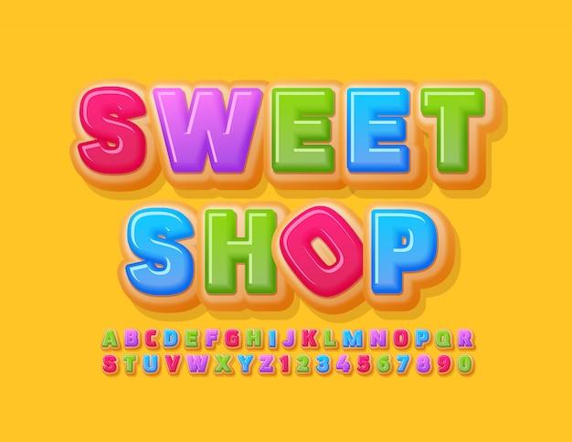 Logotipo colorido do vetor loja de doces com deliciosa fonte. letras e números do alfabeto de rosquinhas brilhantes