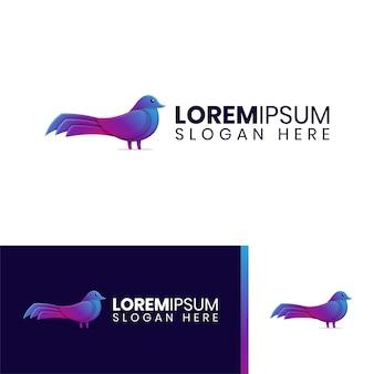 Logotipo colorido elegante do pássaro pombo