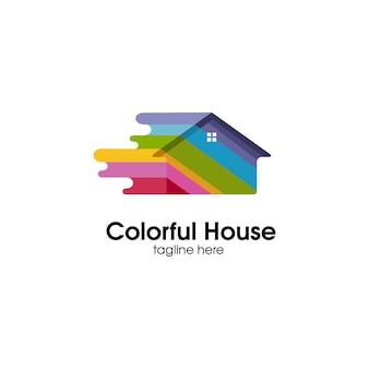 Logotipo colorido em casa