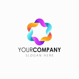 Logotipo colorido flor gradiente