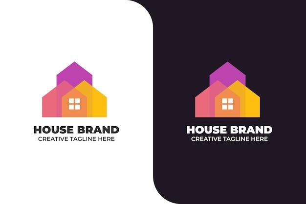 Logotipo colorido gradiente de arquitetura de construção de casas