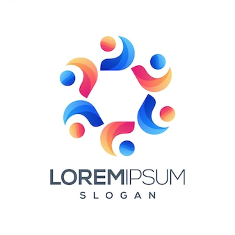 Logotipo colorido gradiente de pessoas