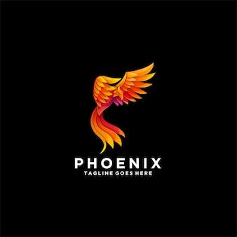 Logotipo colorido gradiente de phoenix.