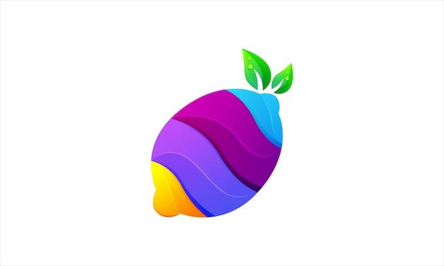 Logotipo colorido gradiente moderno de limão