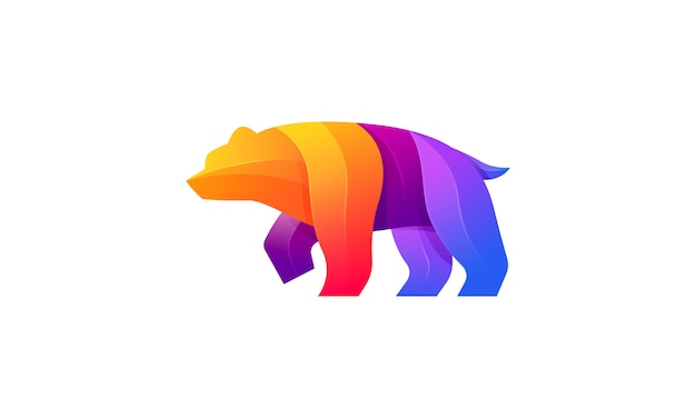 Logotipo colorido gradiente moderno de urso