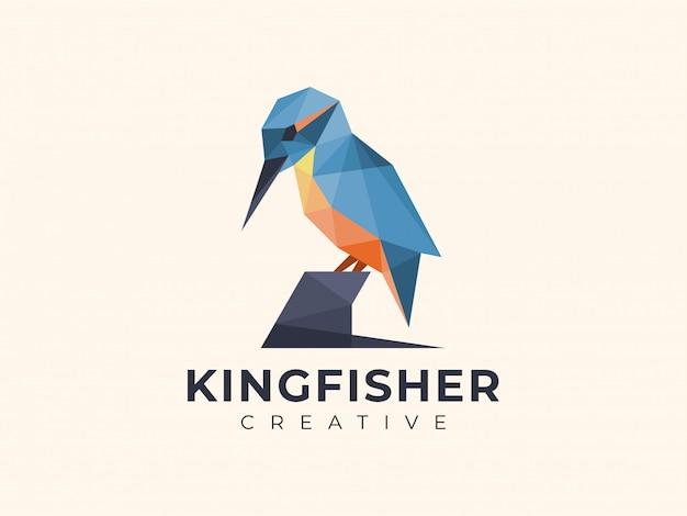 Logotipo colorido incrível do martinho pescatore geométrico