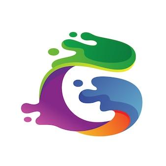 Logotipo colorido líquido da letra g