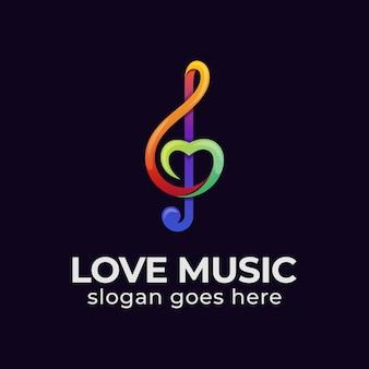 Logotipo colorido moderno da música de amor