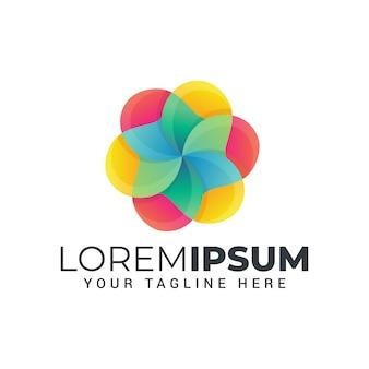 Logotipo colorido moderno de flor abstrata