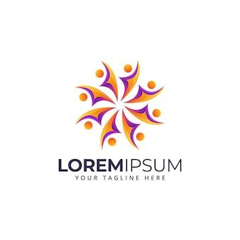 Logotipo colorido pessoas gradiente
