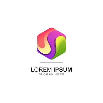 Logotipo colorido polígono