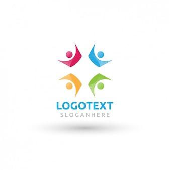 Logotipo colorido povos abstratos