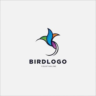 Logotipo colorido simples beija-flor