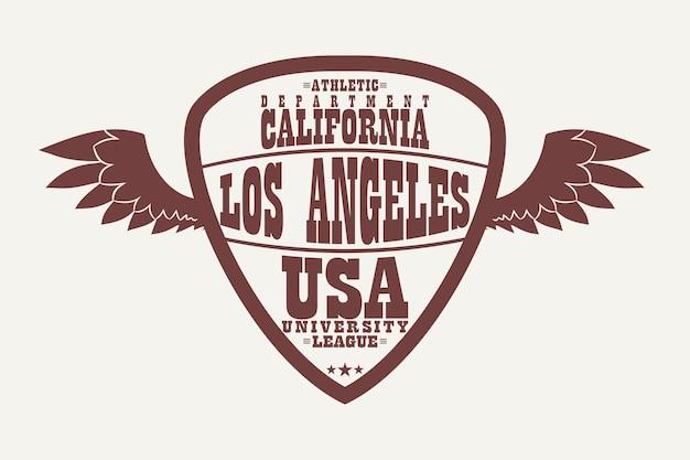 Logotipo com asas de roupas esportivas de los angeles, califórnia. gráficos de camisetas esportivas, roupas de design da liga universitária em forma de escudo. ilustração vetorial.