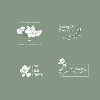 Logotipo com cerimônia de casamento para branding e ícone