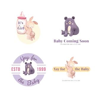 Logotipo com conceito de design do chuveiro de bebê para ilustração vetorial aquarela de marca e marketing.
