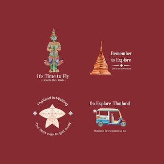 Logotipo com conceito de viagens na tailândia para branding e marketing em estilo aquarela