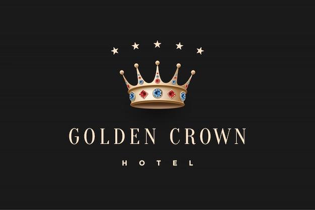 Logotipo com coroa rei de ouro, diamante e inscrição golden crown hotel