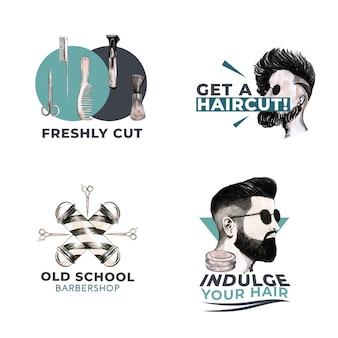 Logotipo com design de conceito de barbeiro para branding.
