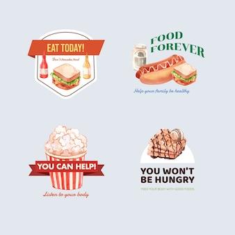 Logotipo com design de conceito do dia mundial da comida para restaurante e aquarela de marca
