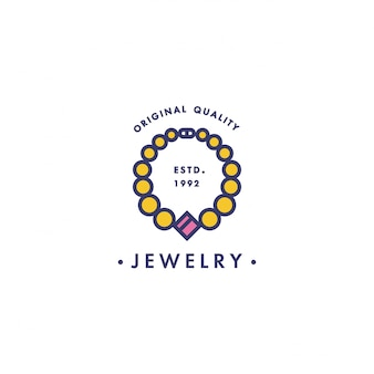 Logotipo com design de pingente no elegante estilo linear em cores coloridas