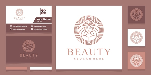 Logotipo com estilo de linha de rosto bonito e coroa com cartão de visita