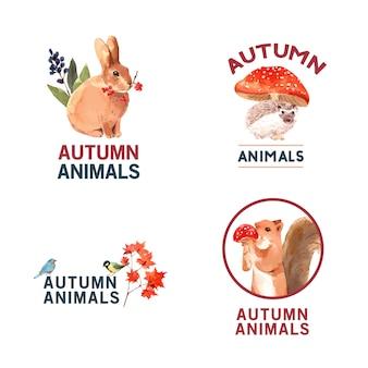 Logotipo com floresta de outono e animais