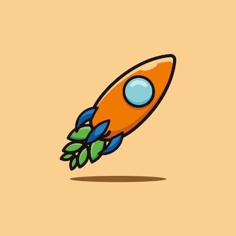 Logotipo com foguete de cenoura, estilo cartoon