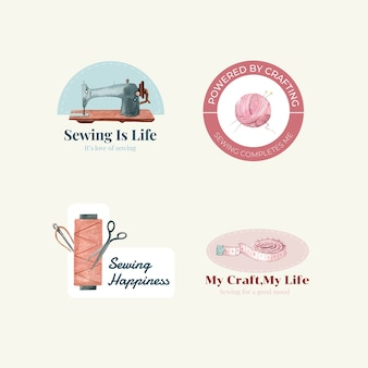 Logotipo com ilustração em aquarela de design de conceito de costura.