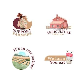 Logotipo com ilustração em aquarela do projeto do conceito de fazenda orgânica.