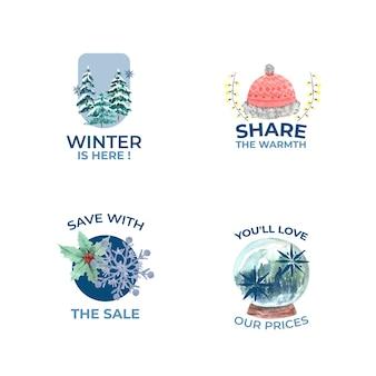 Logotipo com liquidação de inverno em estilo aquarela