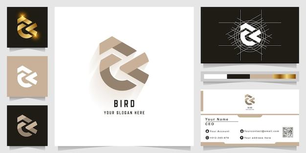 Logotipo com monograma letra ak ou pássaro com design de cartão de visita