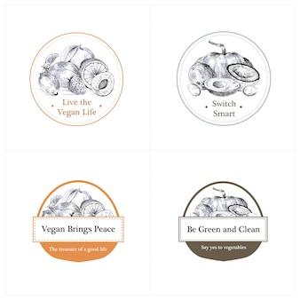 Logotipo com projeto de conceito de comida vegan para a marca.