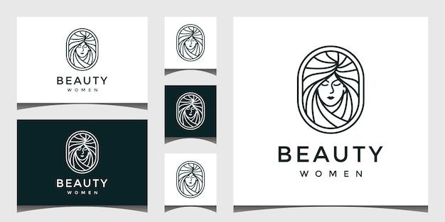Logotipo com um estilo de linha de rosto bonito.