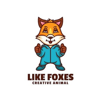 Logotipo como estilo dos desenhos animados da mascote das raposas.
