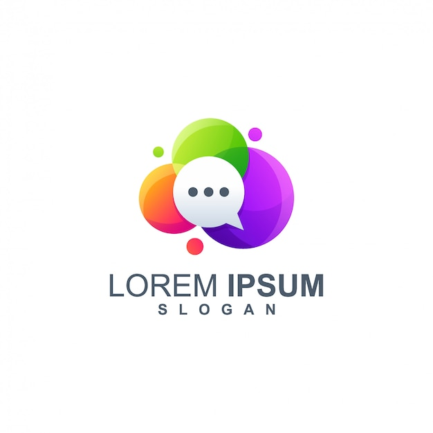Logotipo completo de cor de bate-papo de bolha