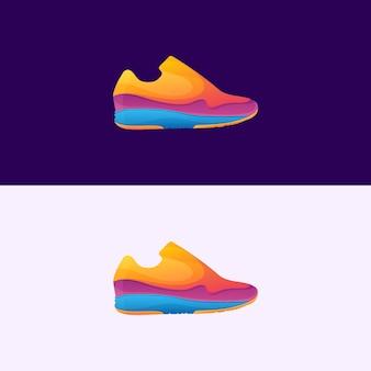 Logotipo completo de sapato colorido