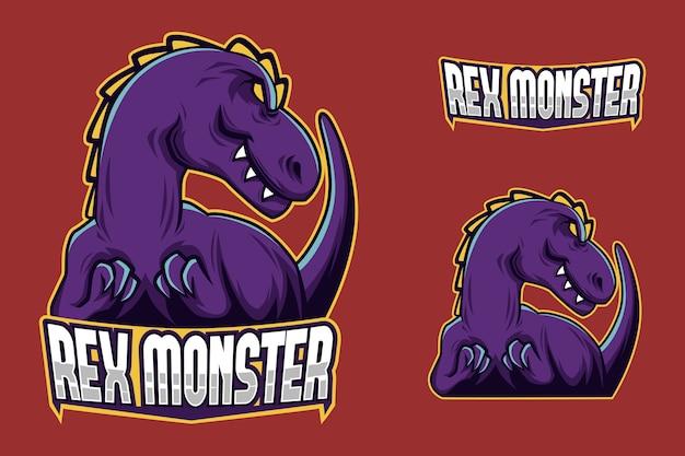 Logotipo completo do esport do mascot do dinossauro da marca roxa