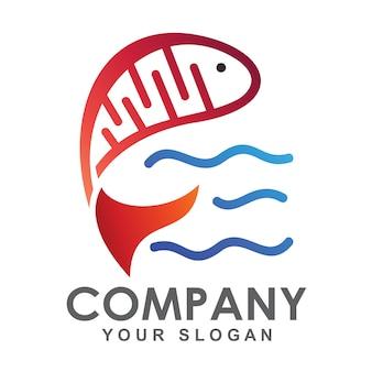 Logotipo conceito simples dna peixe