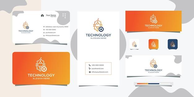 Logotipo conectado como rede e cartão de visita