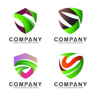 Logotipo conjunto de escudo + letra s