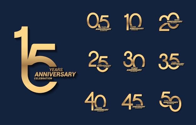 Logotipo conjunto de número de aniversário de ouro de luxo de 15 anos