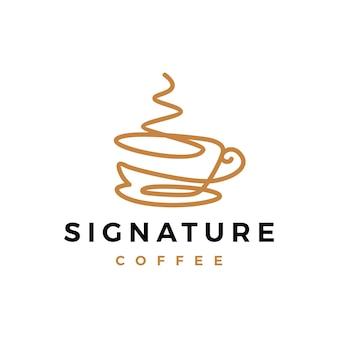 Logotipo contínuo de assinatura de café de uma linha