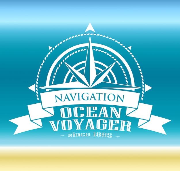 Logotipo corporativo com rosa dos ventos. símbolo de navegação.